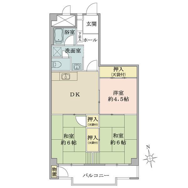 東建座間ハイツ2号棟の間取図/12F/630万円/3DK/59.19 m²