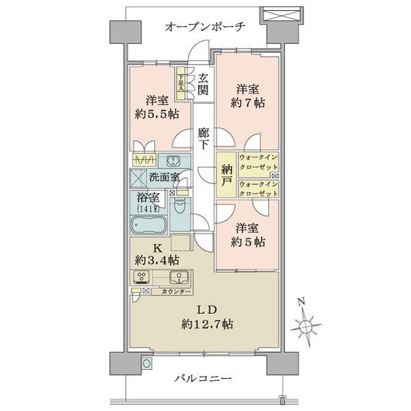 ブリリア多摩ニュータウンの間取図/9F/3,880万円/3LDK/77.25 m²