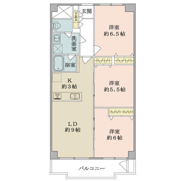 東建座間ハイツ1号棟の間取図/14F/1,399万円/3LDK/65.72 m²