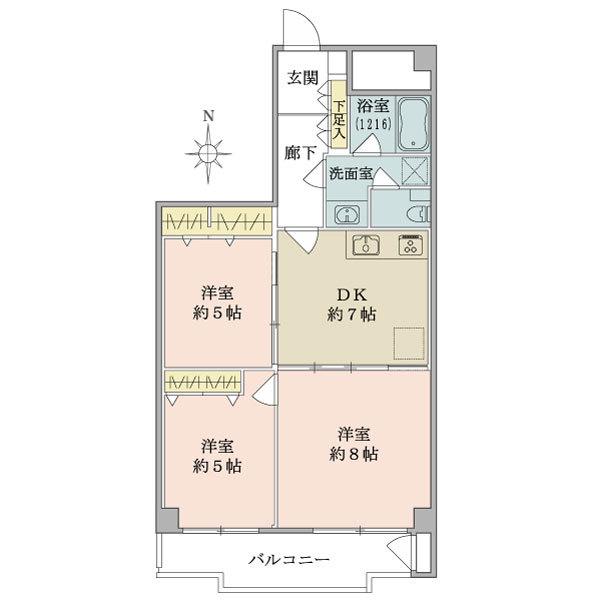 東建座間ハイツ3号棟の間取図/10F/1,299万円/3DK/59.19 m²
