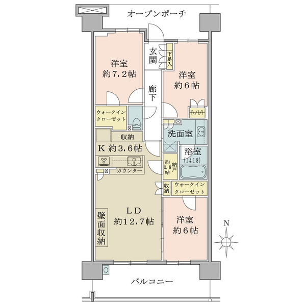 ブリリア多摩ニュータウンの間取図/9F/3,950万円/3LDK/80.25 m²