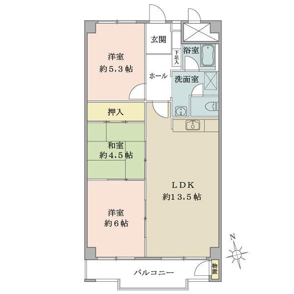 東建座間ハイツ2号棟14階の間取図/14F/880万円/3LDK/69.3 m²