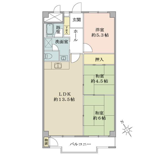 東建座間ハイツ1号棟の間取図/9F/690万円/3LDK/69.3 m²