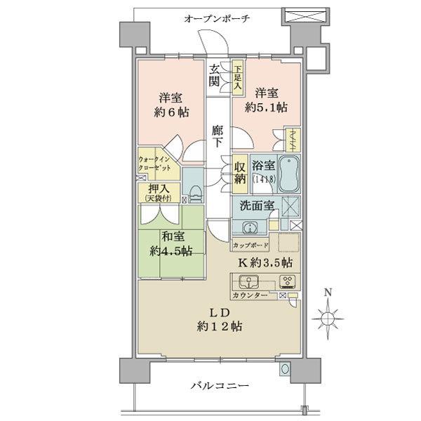 ブリリア多摩ニュータウンの間取図/6F/3,780万円/3LDK/71.19 m²