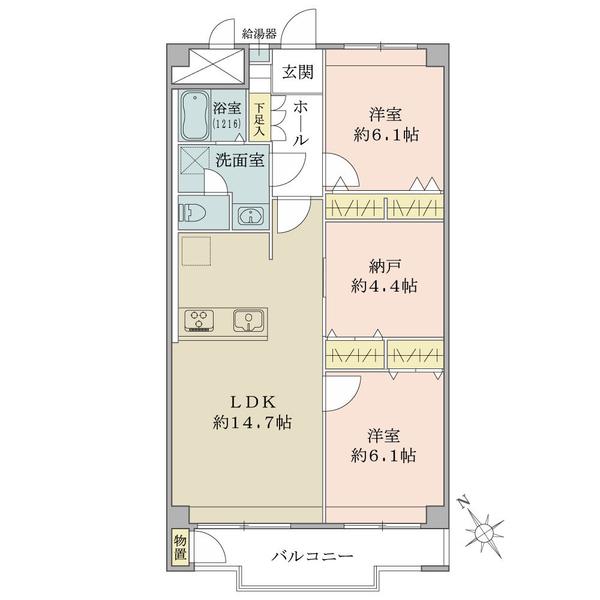 東建座間ハイツ4号棟の間取図/14F/1,280万円/3LDK/69.3 m²