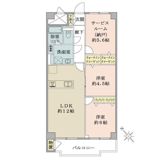 東建座間ハイツ1号棟の間取図/10F/1,399万円/2SLDK/65.72 m²