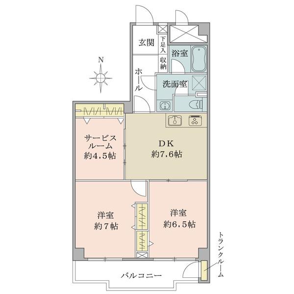 東建座間ハイツ3号棟の間取図/4F/850万円/2DK+S/59.19 m²