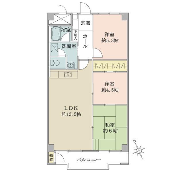 東建座間ハイツ4号棟の間取図/11F/780万円/3LDK/69.3 m²