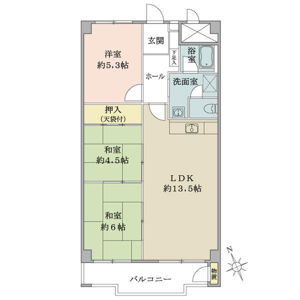 東建座間ハイツ2号棟の間取図/4F/690万円/3LDK/69.3 m²