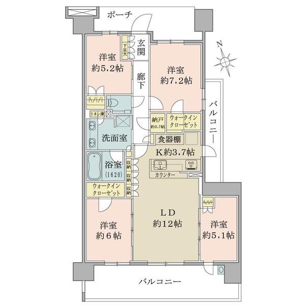 ●4LDK価格4580万円、専有面積90.77㎡、バルコニー面積30.26㎡●各居室収納あり。室内をすっきり保てます。
