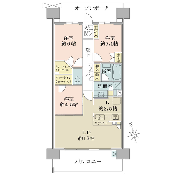 ブリリア多摩ニュータウンB棟の間取図/9F/3,820万円/3LDK/71.19 m²