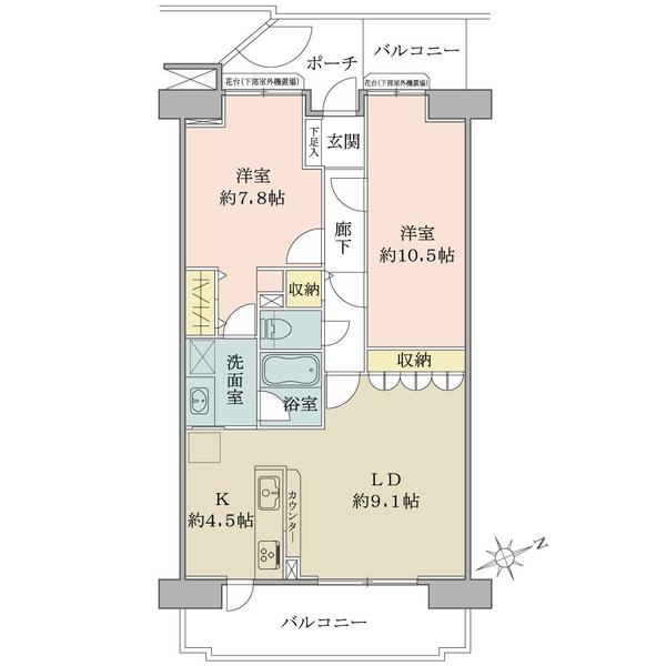 プランヴェール鶴巻の間取図/4F/1,480万円/2LDK/70.39 m²