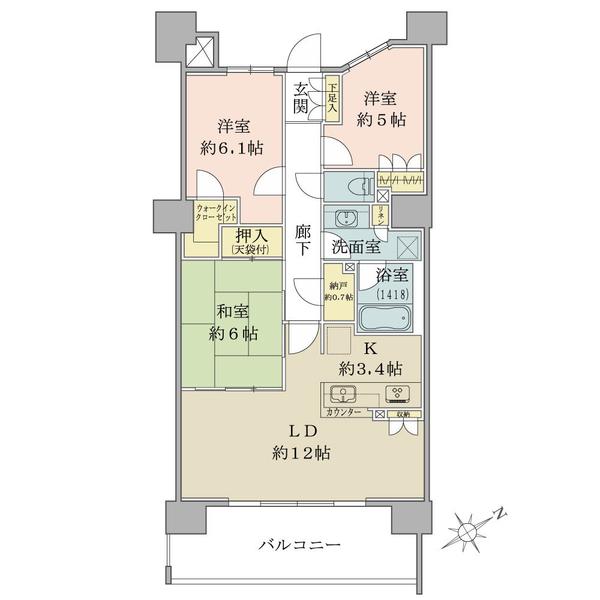 ブリリア小田急相模原の間取図/12F/3,650万円/3LDK/76.01 m²