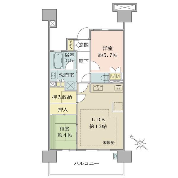 ブリリア多摩ニュータウンB棟の間取図/5F/2,780万円/2LDK/53.26 m²