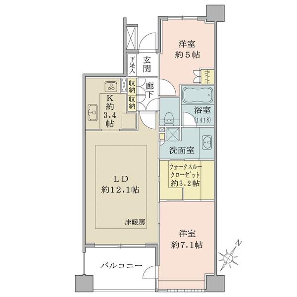 ファーロMの間取図/2F/3,280万円/2LDK+WIC/63.94 m²