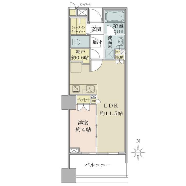 ブリリアタワー八王子の間取図/4F/2,830万円/1LDK/40.31 m²