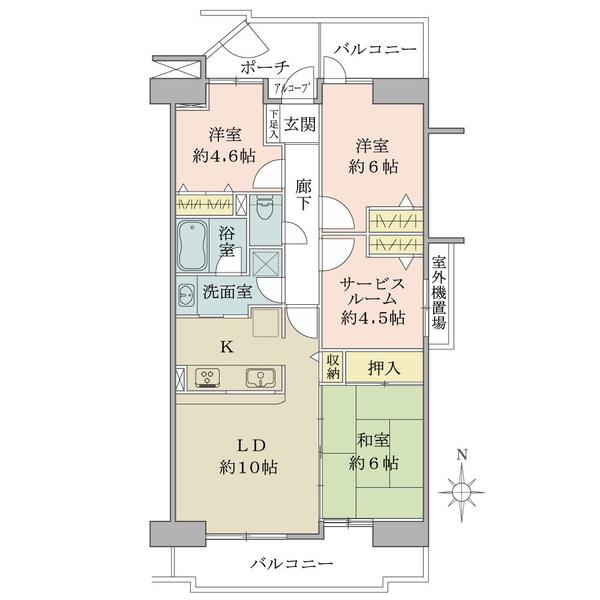プランヴェール鶴巻の間取図/7F/1,750万円/3SLDK/76.1 m²