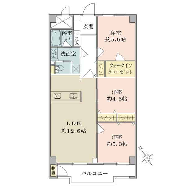 東建座間ハイツ2号棟の間取図/14F/1,399万円/3LDK/69.3 m²