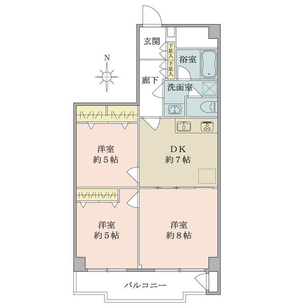 東建座間ハイツの間取図/10F/990万円/3DK/59.19 m²