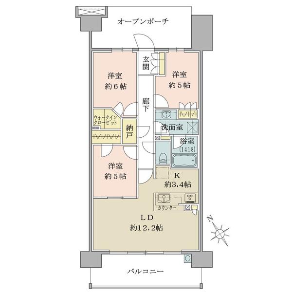 ブリリア多摩ニュータウンの間取図/12F/3,880万円/3LDK+N/73.39 m²