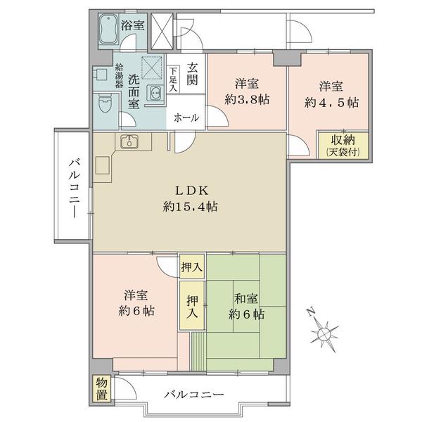 東建座間ハイツの間取図/9F/1,050万円/4LDK/87.59 m²