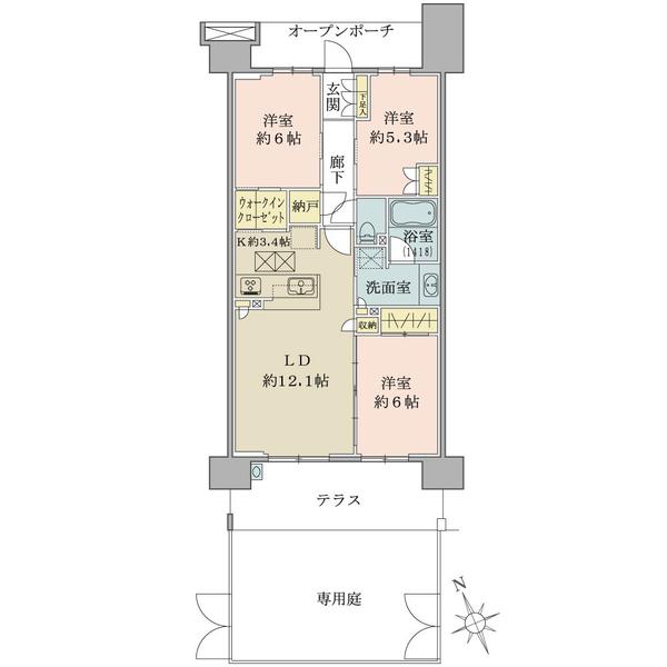 ブリリア多摩ニュータウンの間取図/1F/3,730万円/3LDK/73.39 m²