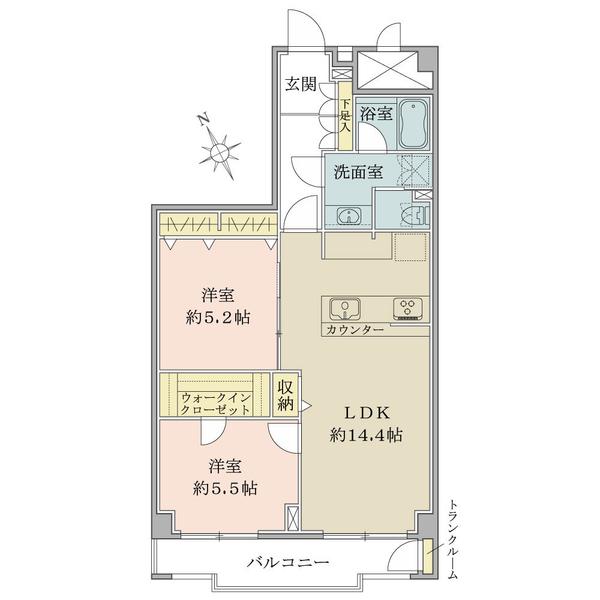 東建座間ハイツ1号棟の間取図/10F/1,299万円/2LDK/59.19 m²