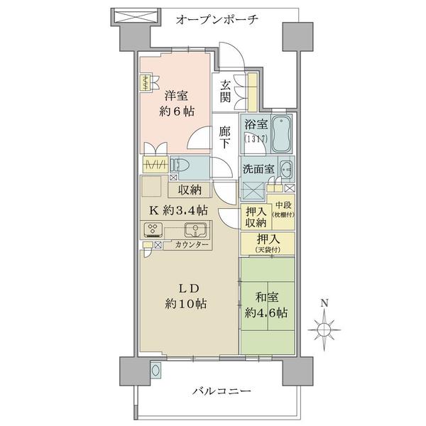 ブリリア多摩ニュータウンの間取図/9F/2,980万円/2LDK/57.12 m²