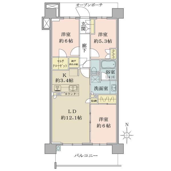 ブリリア多摩ニュータウンの間取図/8F/3,490万円/3LDK/73.39 m²