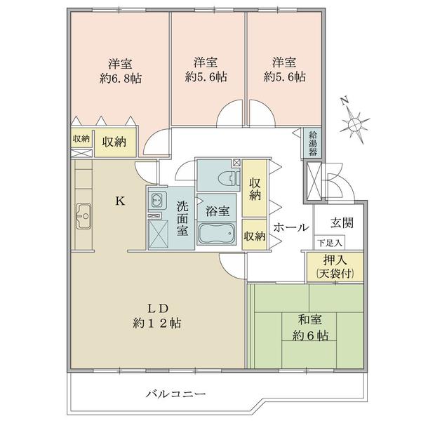 東建ニューハイツ海老名の間取図/3F/1,450万円/4LDK/95.94 m²