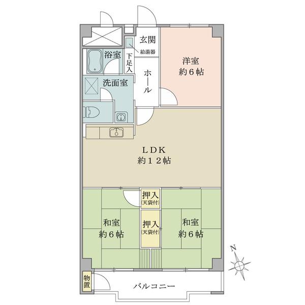 東建座間ハイツ4号棟西館の間取図/7F/890万円/3LDK/69.3 m²