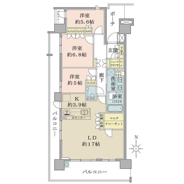 ブリリア多摩ニュータウンの間取図/8F/5,300万円/3LDK/91.04 m²