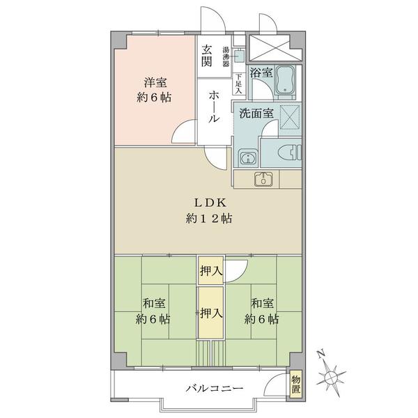 東建座間ハイツ一号棟の間取図/7F/680万円/3LDK/69.3 m²