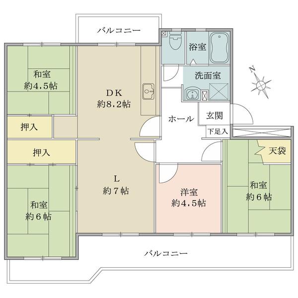 東建ニューハイツ海老名の間取図/3F/1,200万円/4LDK/80.9 m²