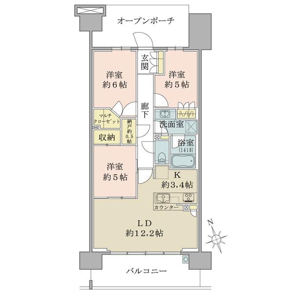 ブリリア多摩ニュータウンの間取図/10F/4,080万円/3LDK/73.39 m²