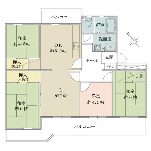 東建ニューハイツ海老名13号棟の間取図/5F/1,280万円/4LDK/80.77 m²