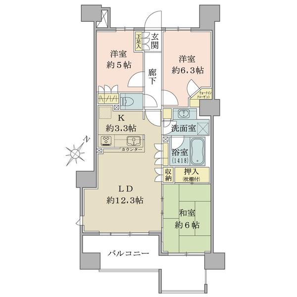 ブリリア小田急相模原の間取図/6F/3,200万円/3LDK+WIC/72.19 m²