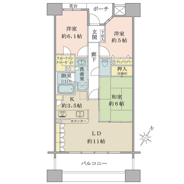 アールヴェール町田森野の間取図/12F/5,080万円/3LDK+WIC/71.06 m²