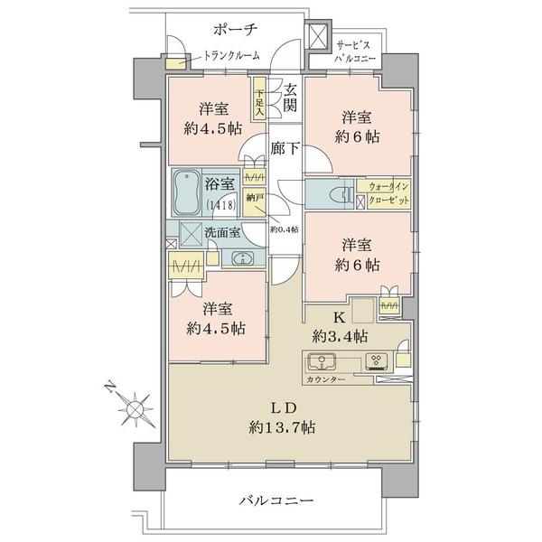 ブリリア南林間ハイライズの間取図/10F/3,650万円/4LDK/80.03 m²