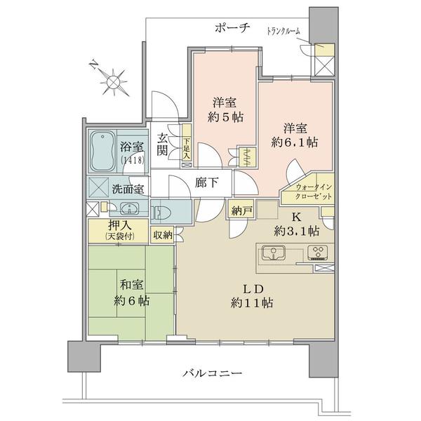 ブリリア南林間ハイライズの間取図/8F/3,200万円/3LDK/70.07 m²