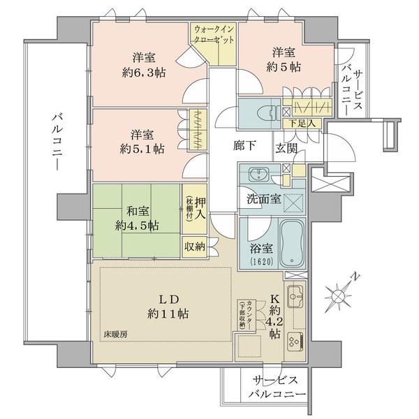 ブリリア小田急相模原の間取図/8F/4,180万円/4LDK+WIC/83.06 m²