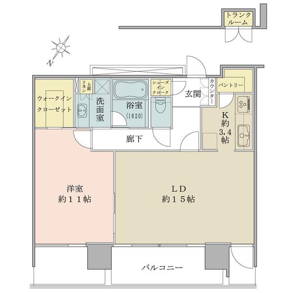 ブリリアグランデみなとみらいパークフロントタワー 11階の間取図/11F/6,900万円/1LDK+W/73.34 m²