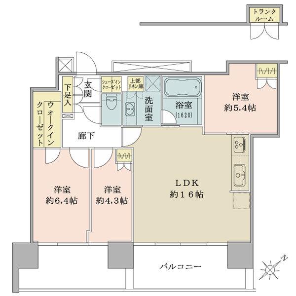 ブリリアグランデみなとみらい パークフロントタワー9階の間取図/9F/6,880万円/3LDK+WIC+SIC/73.82 m²