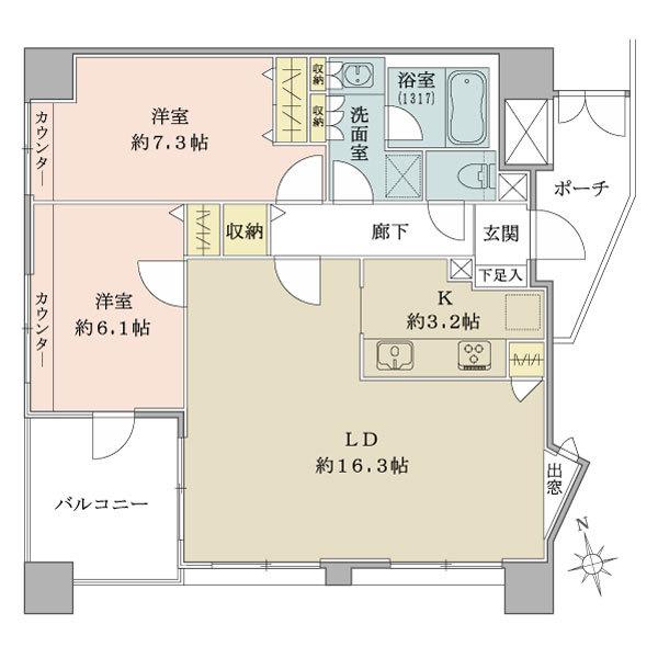 プランヴェール湘南江ノ島の間取図/12F/4,470万円/2LDK/70.24 m²