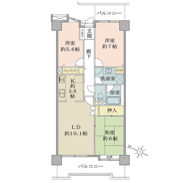 プランヴェール湘南茅ヶ崎の間取図/5F/2,100万円/3LDK/74.19 m²