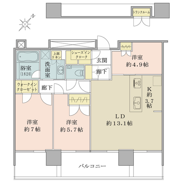 ブリリアグランデみなとみらいパークフロントタワー 22階の間取図/22F/7,500万円/3LDK+WIC/79.98 m²
