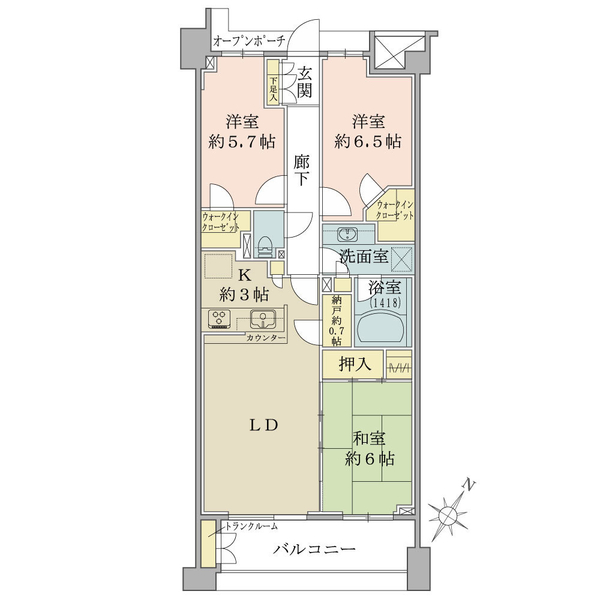 ブリリアアーブリオ戸塚の間取図/5F/2,700万円/3LDK/76.97 m²