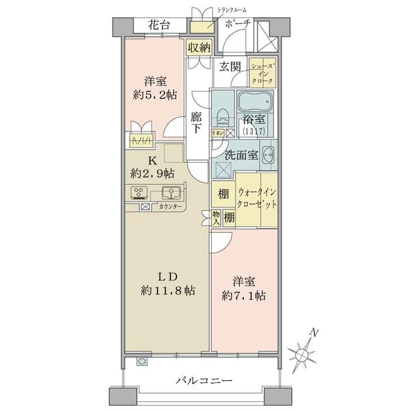 湘南袖ヶ浜レジデンスシーガルコートの間取図/4F/2,540万円/2LDK+S+W/66.14 m²