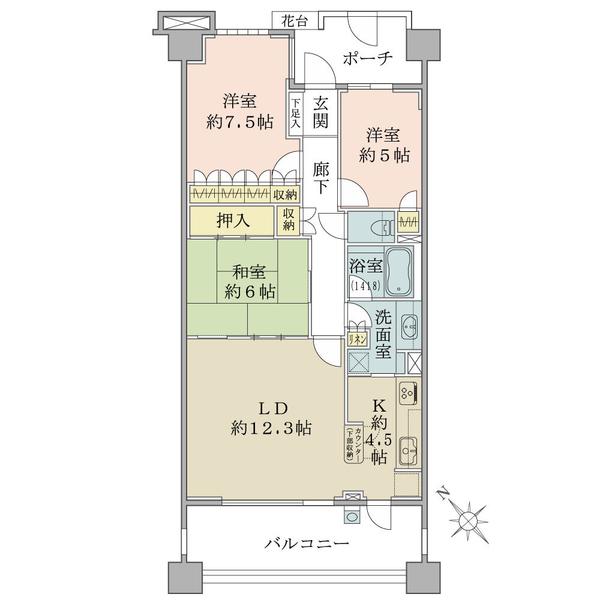 東京プライムウエストの間取図/7F/5,150万円/3LDK/79.67 m²