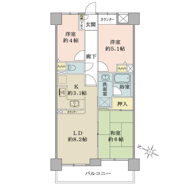 プランヴェール吉野町の間取図/5F/2,880万円/3LDK/59.68 m²